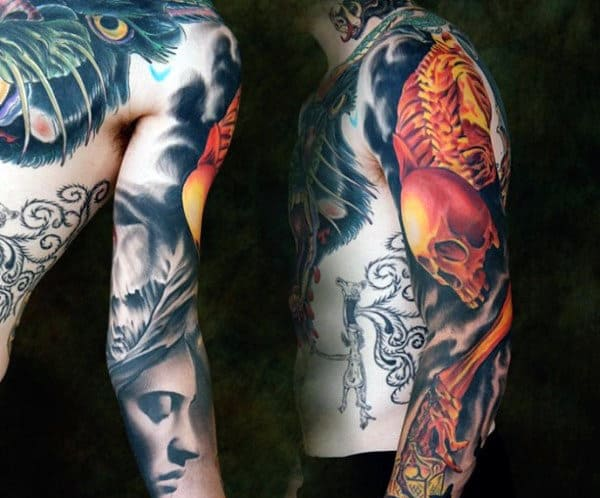 Skeleton Hands Tattoo For Men Sleeves