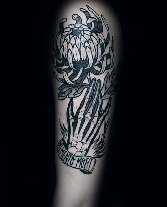 Skeleton Hands With Flower Memento Mori Male Arm Tattoos