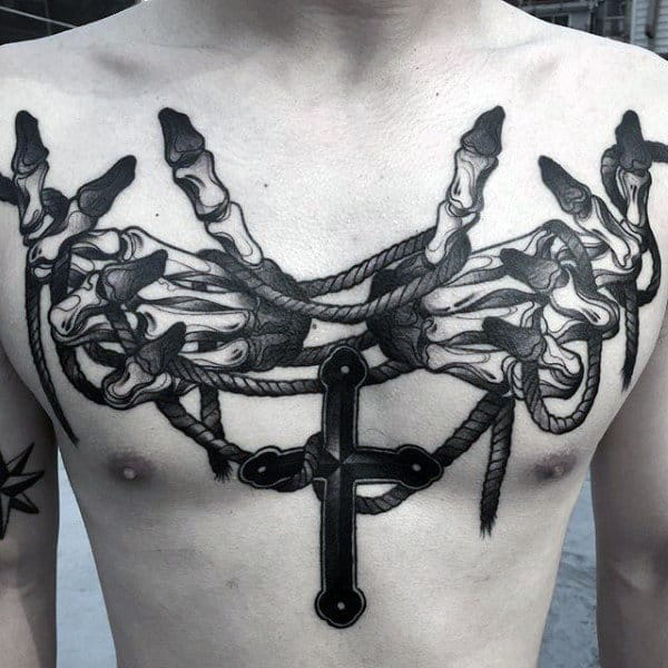 Skeleton Hands With Rope And Cross Guys Modern Chest Tattoos