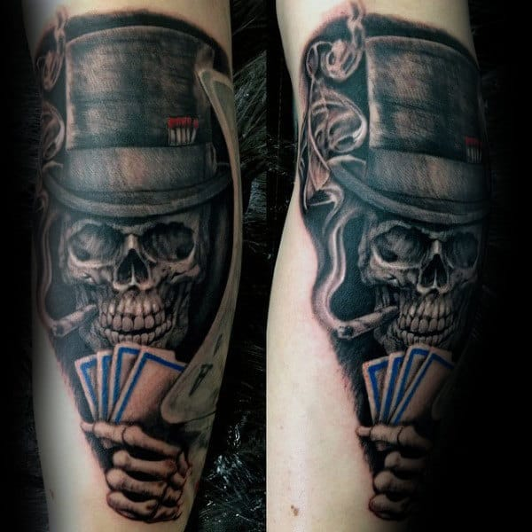Skeleton Holding Playing Cards Mens Arm Tattoo