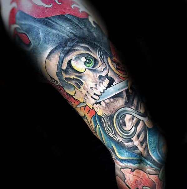 Skeleton Holding Sword In Teeth Guys Colorful Sweet Tattoo