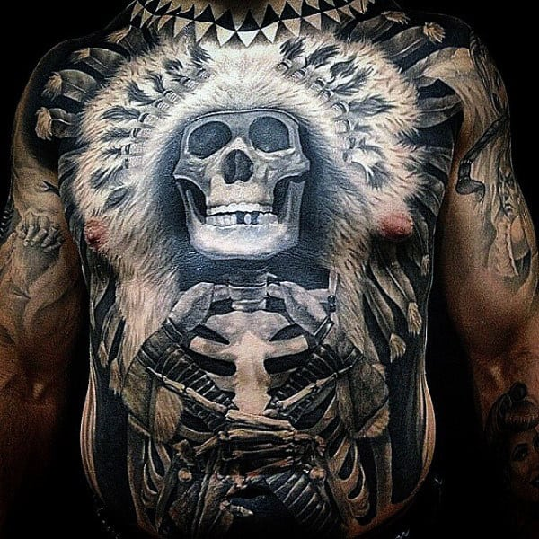 Skeleton Indian Full Stomach Tattoos For Men