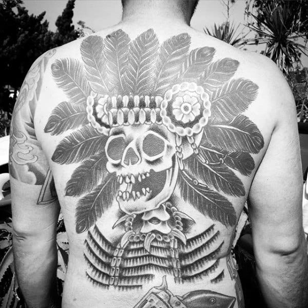 Skeleton Indian Skull Male Back Tattoo Ideas