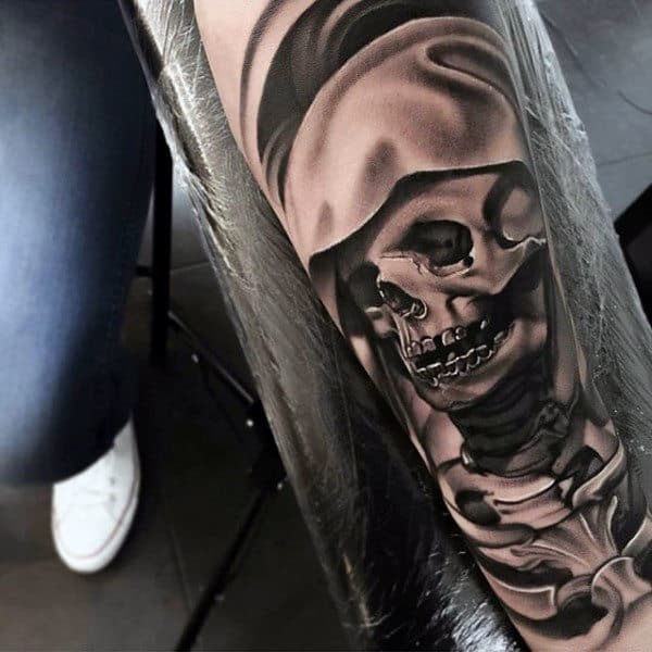 Skeleton Inner Forearm Tattoo On Man