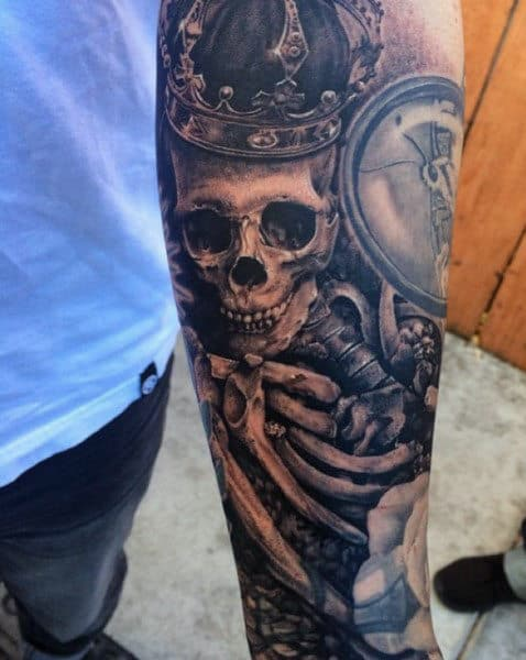50 skeleton tattoos for men spine tingling after life