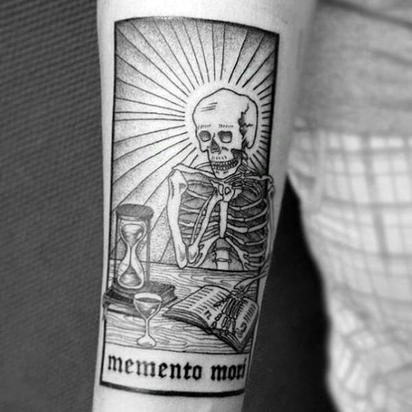 Skeleton Looking At Hourglass Mens Memento Mori Inner Forearm Tattoo Designs