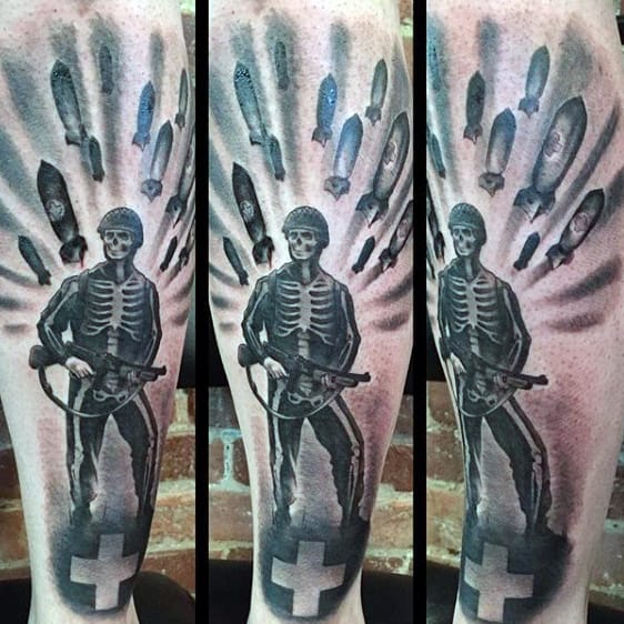 Skeleton Medic Mens Ww2 Leg Tattoos