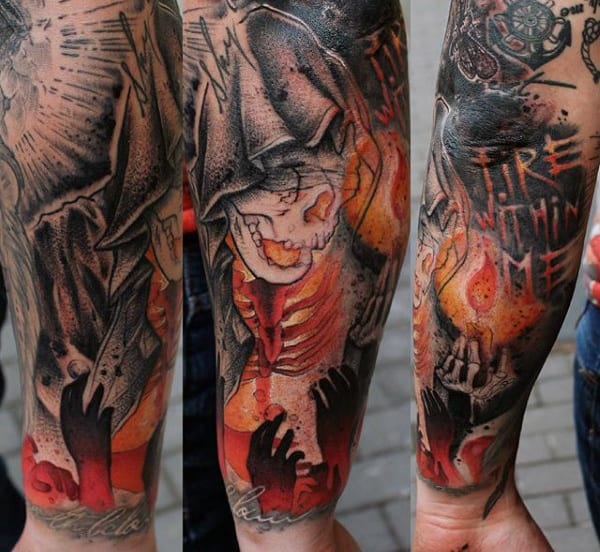 Skeleton Mens Forearm Sleeve Fire Tattoos