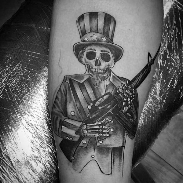 Skeleton Patriot With Ar 15 Guys Tattoo On Arm