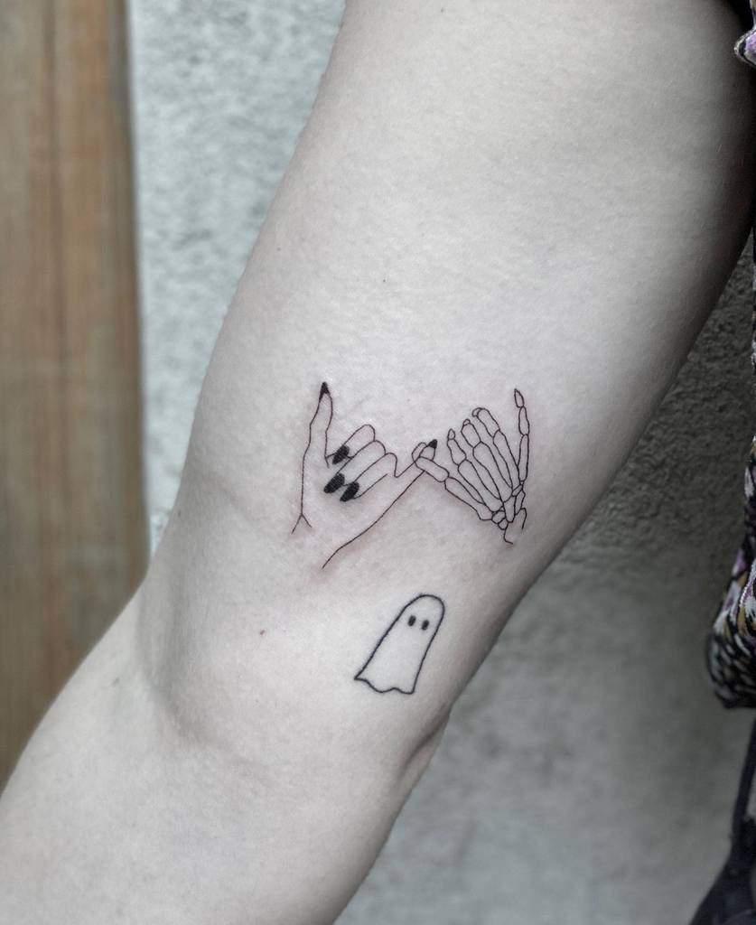 Skeleton Pinky Promise Tattoos Ellewesttattoo
