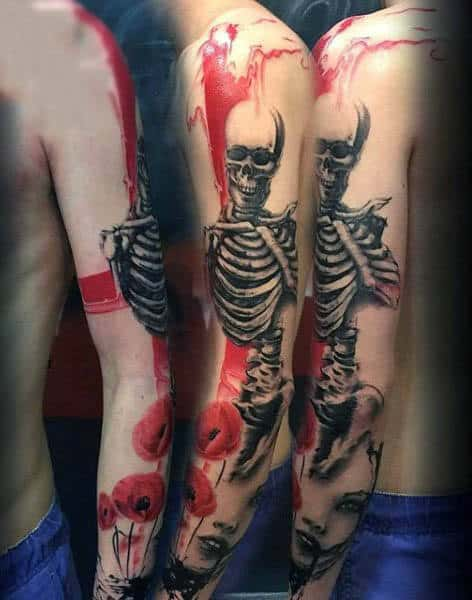 Skeleton Poppy Tattoo Full Arm Design For Males