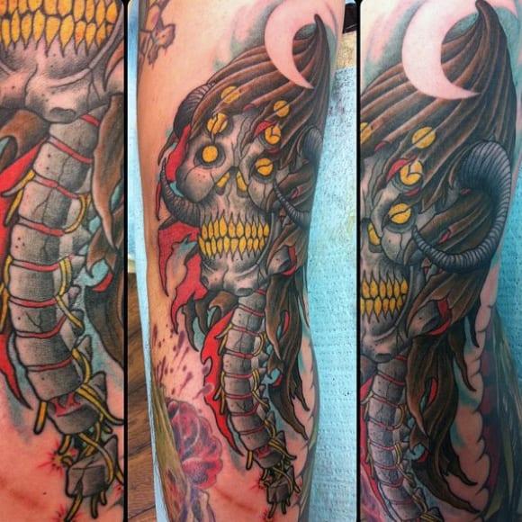 Skeleton Psine Tattoo Design For Guys