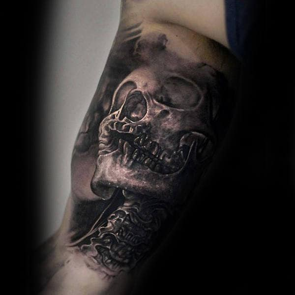 Skeleton Realistic Black Ink Inner Arm Tattoos For Men