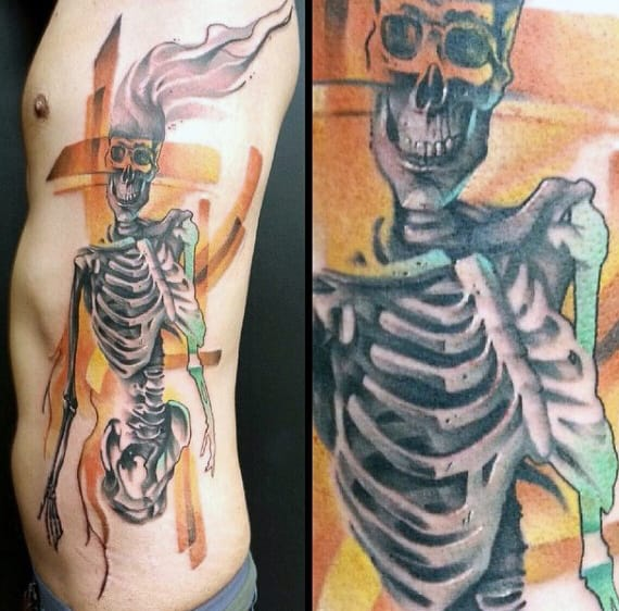 Skeleton Rib Cage Side Tattoo For Men