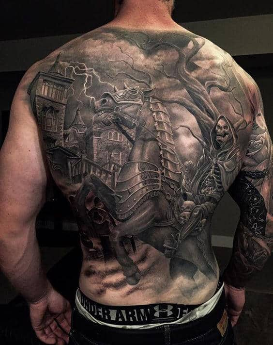 Skeleton Riding Horse With Tree Background Male Tattoo On Back