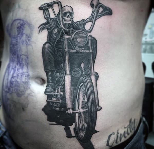 Skeleton Riding Motorcycle Guys Harley Davidson Stomach Tattoos