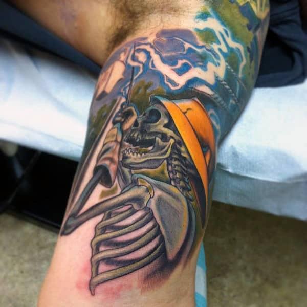 Skeleton Shock Lineman Mens Half Sleeve Tattoos