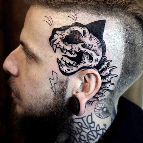 Skeleton Skull Guys Side Of Head Tattoo Designs