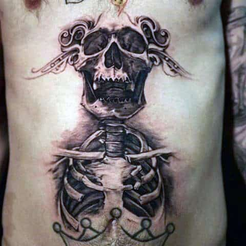 Skeleton Skull Lower Stomach Tattoos For Guys
