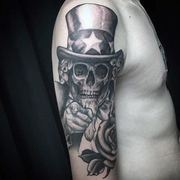 Skeleton Unckle Sam With Rose Flower Patriotic Upper Arm Tattoos For Gentlemen