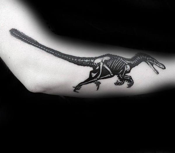 Skeleton Velociraptor Mens Black And White Ink Outer Forearm Tattoo