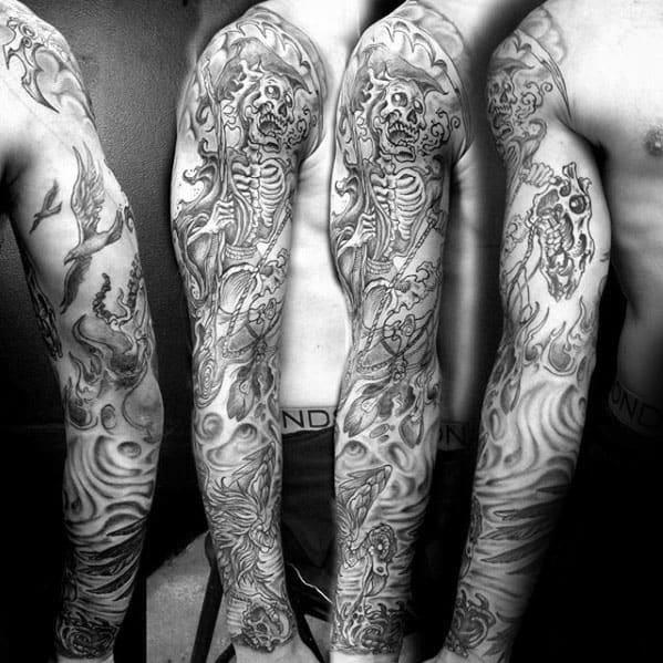 Skeleton Vulture Guys Full Sleeve Shaded Tattoo