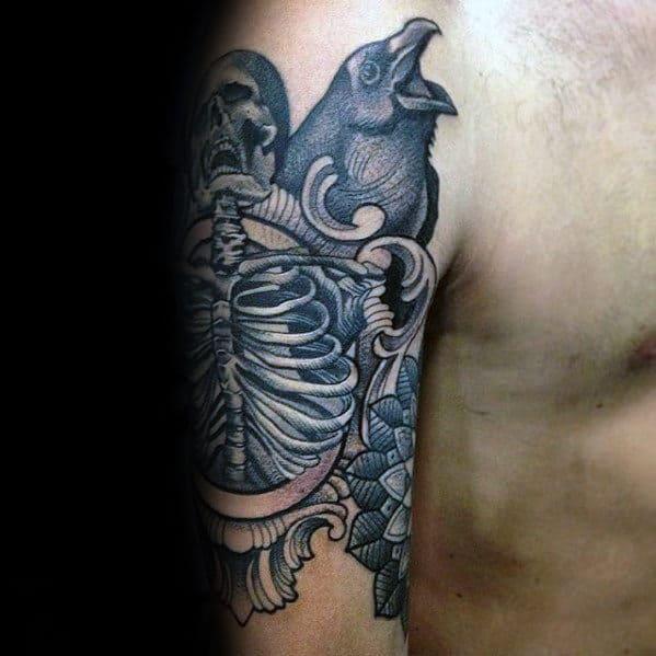 Skeleton With Crow Ornate Unusual Guys Arm Tattoos