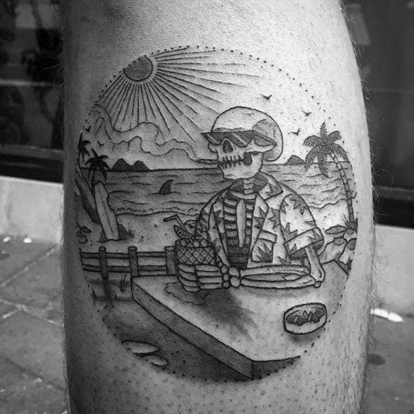Skeleton With Drink On The Beach Mens Small Leg Calf Tattoos