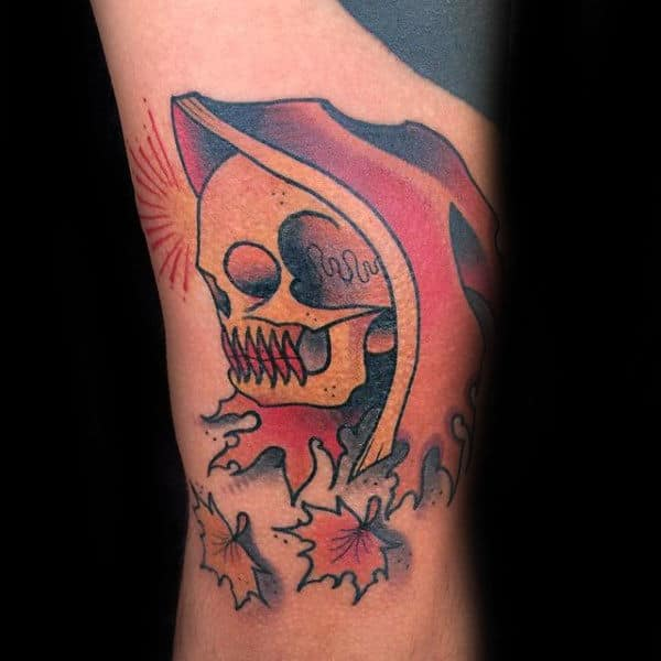 Skeleton With Leaves Mens Fall Arm Tattoo