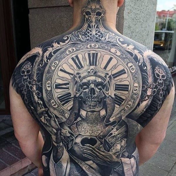 Skeleton With Roman Numeral Clock Guys Sweet Back Tattoo Ideas