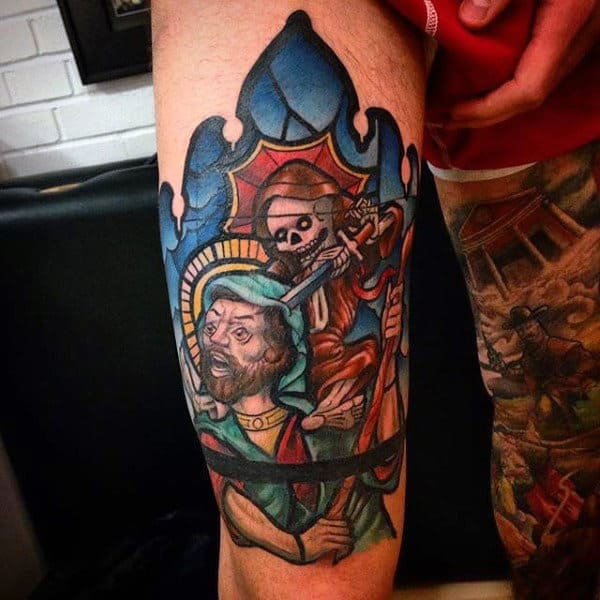 Skeleton With Sword Mens Thigh Stained Glass Tattoos