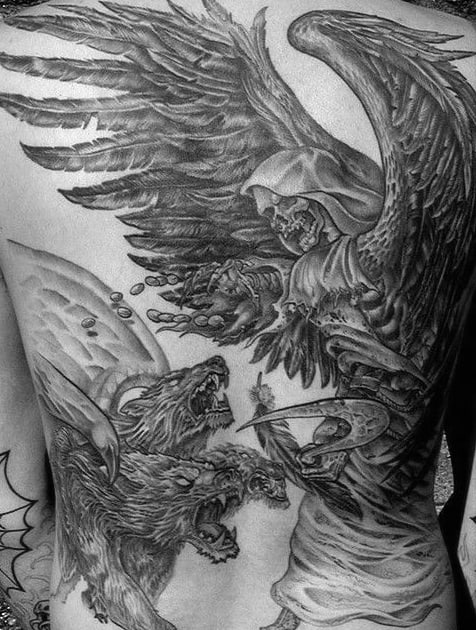 Skeleton With Wings Cerberus Guarding Gates Of Underworld Mens Full Back Tattoos
