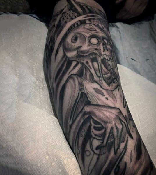 Skeleton Zombie Sleeve Guys Tattoo