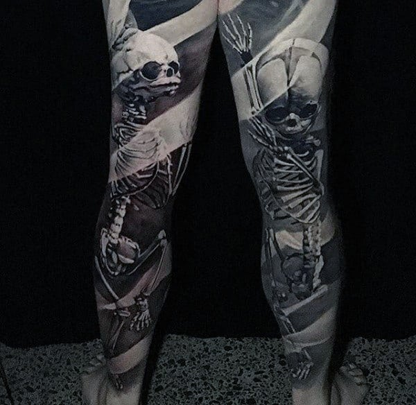 Skeletons Original Mens Leg Sleeve Tattoos