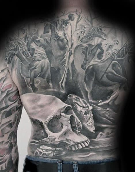 Skeletons Riding Horses In Battle Guys Cool Shaded Black And Grey Back Tattoos