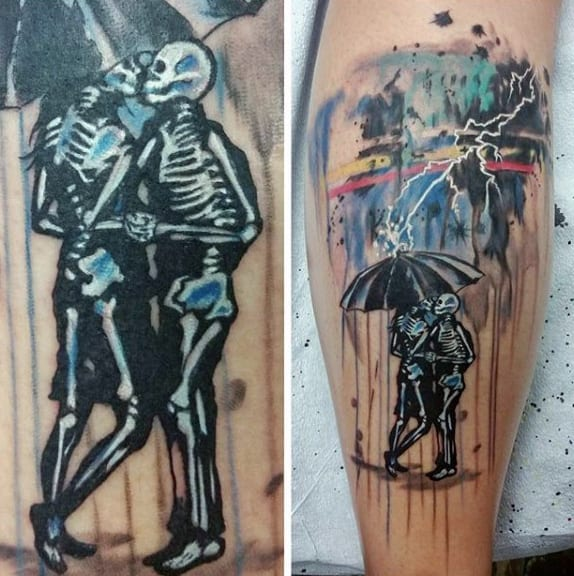 Skeletons With Thunder Watercolor White Ink Mens Leg Calf Tattoos