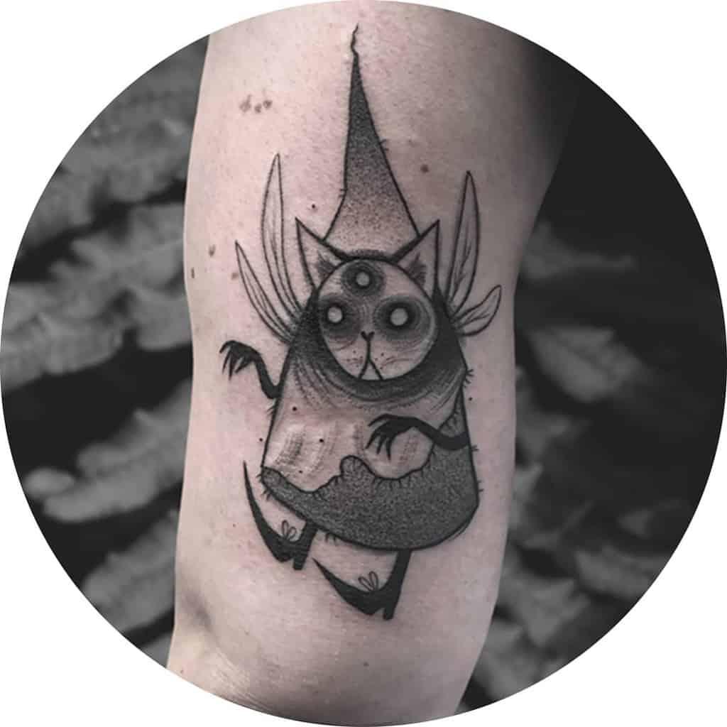 Sketch Art Work Cat Lover Fairy Tattoo