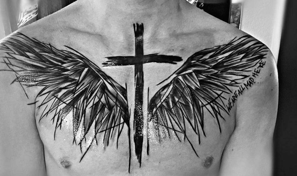 Sketch cross black angel wing tattoo