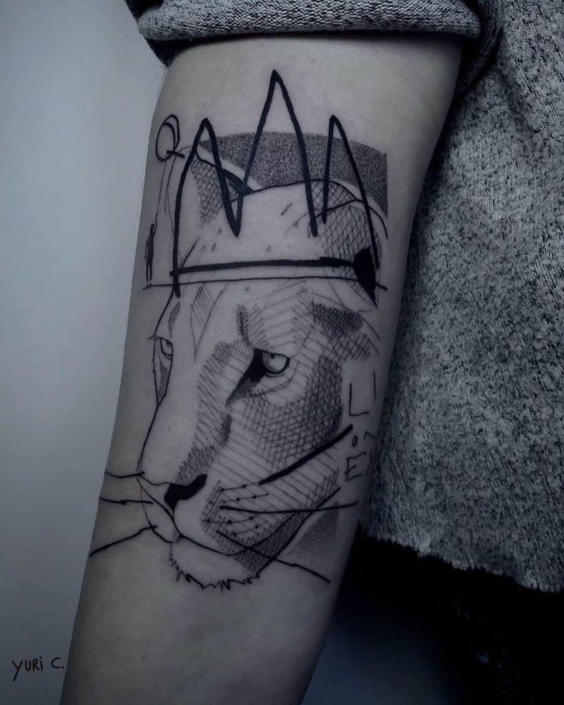 Sketch Graphic Black Grey Lioness Crown Tattoo