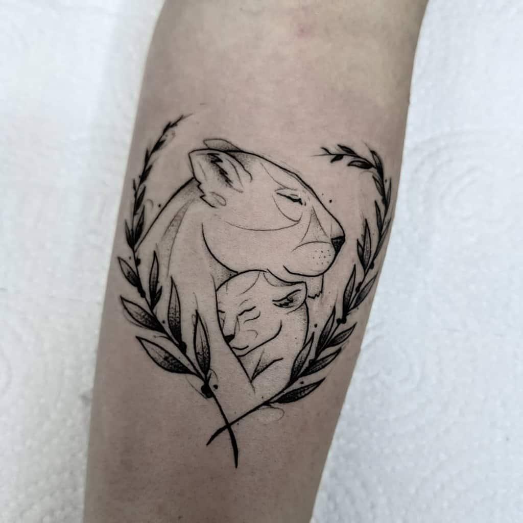 Sketch Inked Lioness Tattoo