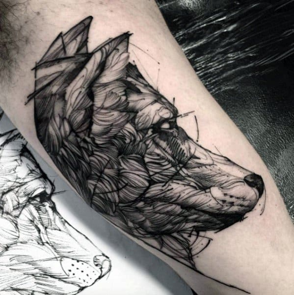 Sketch Mens Wolf Inner Arm Bicep Tattoo Designs