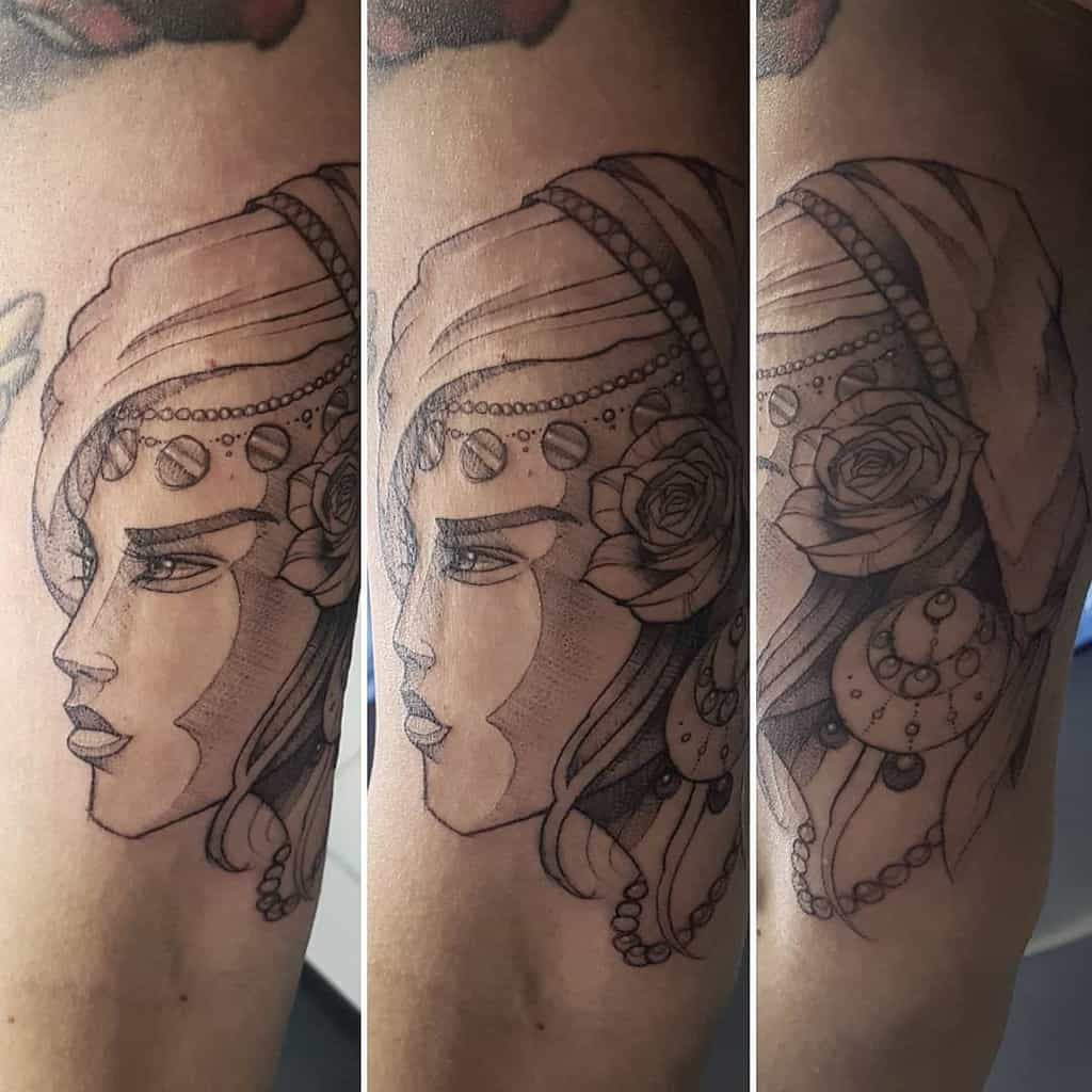 Sketch Style Gypsy Tattoo