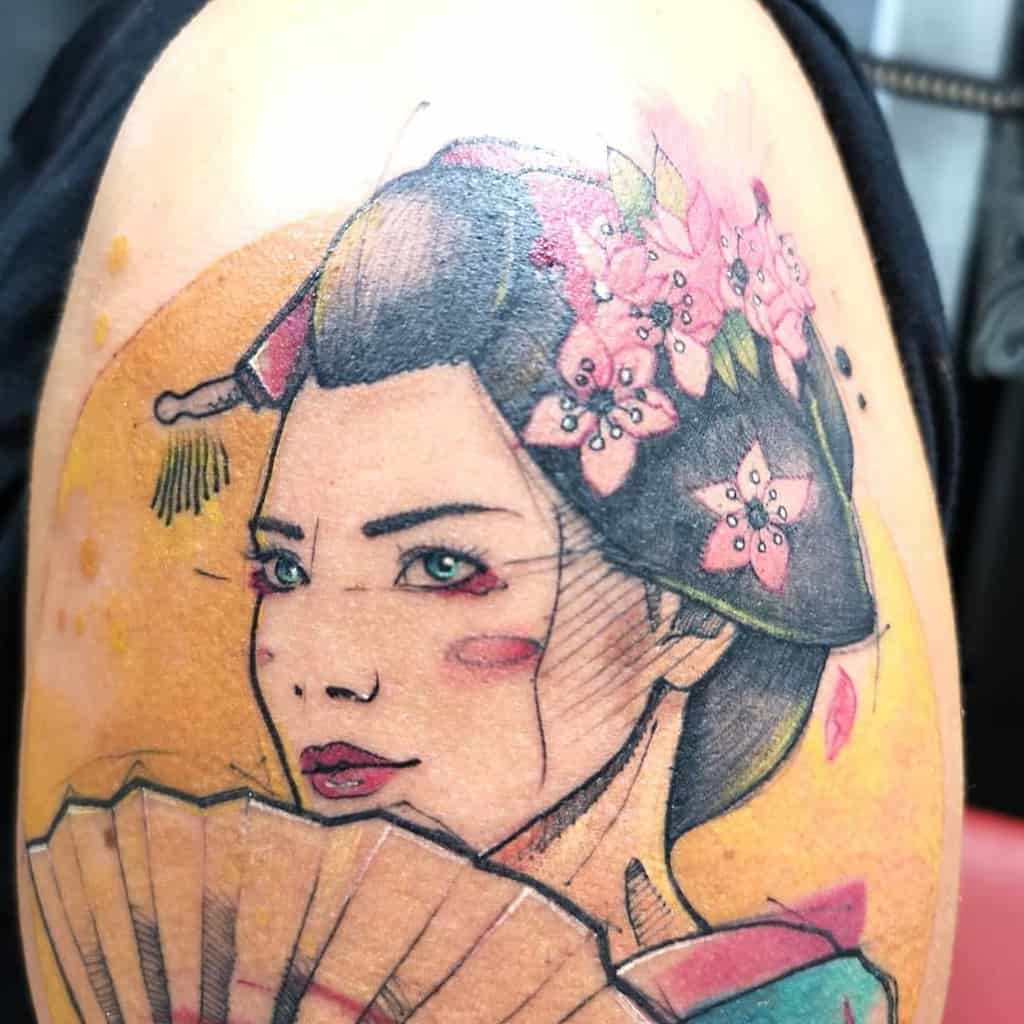 Sketch Water Colour Cherry Blossom Japanese Geisha Tattoo