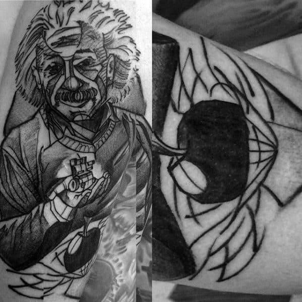 Sketched Arm Male Albert Einstein Tattoo Ideas