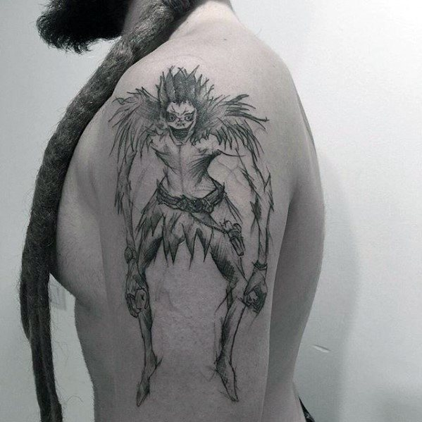 Sketched Arm Male Death Note Tattoo Ideas