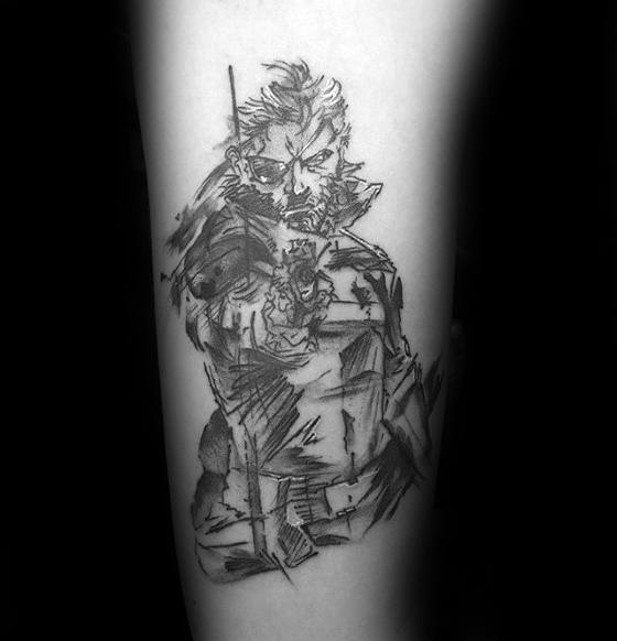 Sketched Black And Grey Ink Forearm Remarkable Metal Gear Tattoos For Males