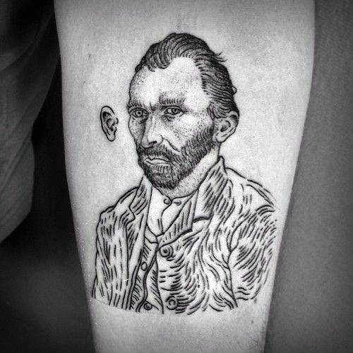 Sketched Black And Grey Vincent Van Gogh Portrait Forearm Tattoos For Guys
