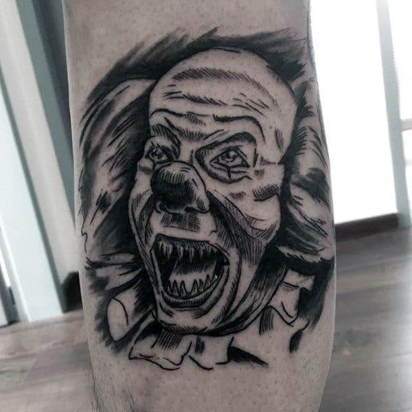 Sketched Black Ink Clown Mens Leg Tattoos