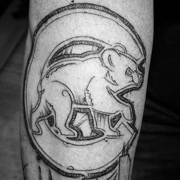 Sketched Black Ink Inner Forearm Mens Tattoo Chicago Cubs Design