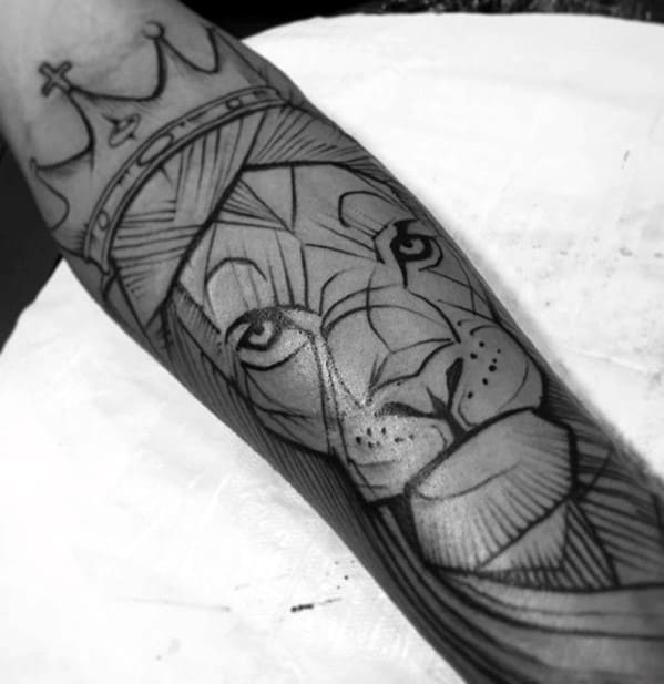 Sketched Black Ink Outline Lion Forearm Tattoos For Guys